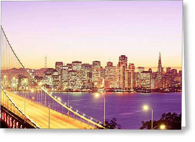 San Francisco Bay Bridge Greeting Cards - San Francisco Ca Greeting Card by Panoramic Images