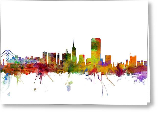 San Francisco Greeting Cards - San Francisco City Skyline Greeting Card by Michael Tompsett