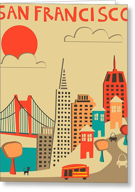 San Francisco Greeting Cards - San Francisco Greeting Card by Jazzberry Blue