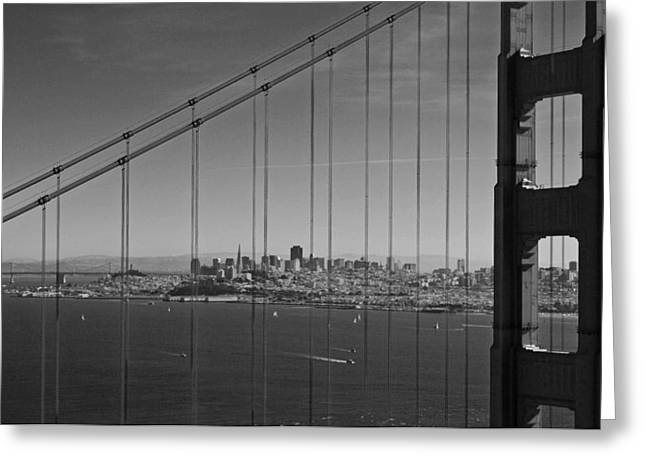 Sausalito Greeting Cards - San Francisco through Golden Gate Bridge Greeting Card by Twenty Two North Photography