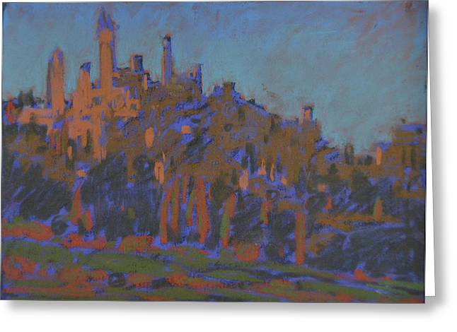 Vineyard Landscape Pastels Greeting Cards - San Gimignano Greeting Card by Anna Lapygina