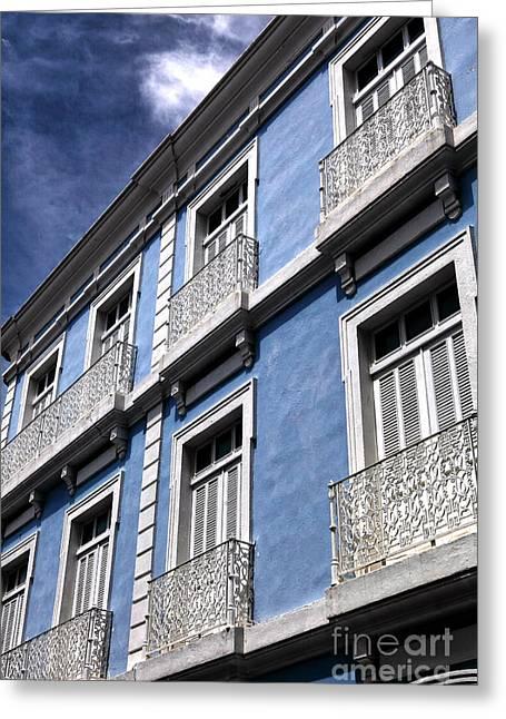 Old San Juan Greeting Cards - San Juan Blue Greeting Card by John Rizzuto