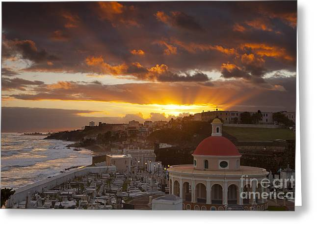 Puerto Rico Greeting Cards - San Juan Sunrise Greeting Card by Brian Jannsen