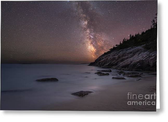Ver Sprill Photographs Greeting Cards - Sand Beach Acadia Milky Way Greeting Card by Michael Ver Sprill