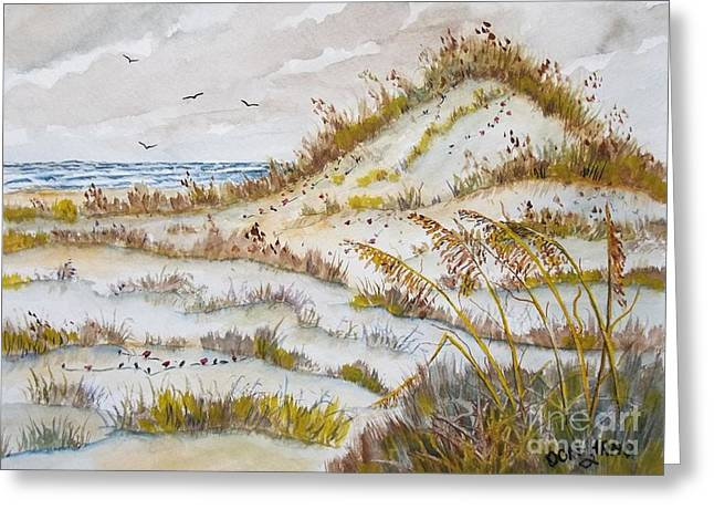 Sea Oats Mixed Media Greeting Cards - Sand Dunes Greeting Card by Don Hand