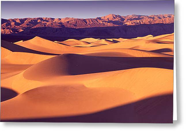 Geology Photographs Greeting Cards - Sand Dunes In A Desert, Death Valley Greeting Card by Panoramic Images
