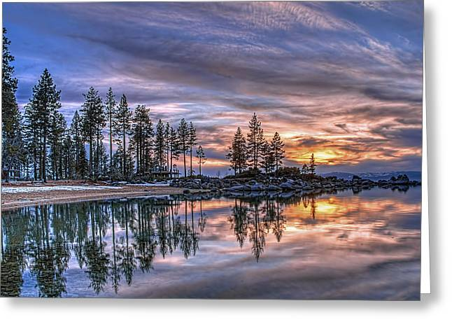 Reflecting Water Greeting Cards - Waning Winter Greeting Card by Maria Coulson