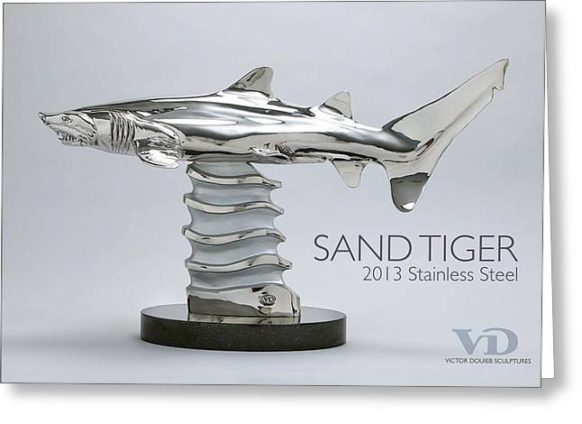 Ragged Sculptures Greeting Cards - Sand Tiger Shark Greeting Card by Victor Douieb