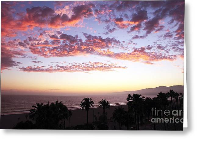 California Contemporary Gallery Greeting Cards - Santa Monica Sunset Greeting Card by John Rizzuto
