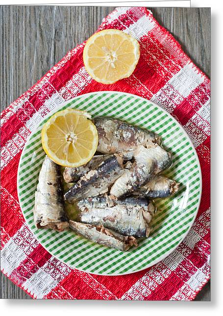Table Cloth Greeting Cards - Sardines Greeting Card by Tom Gowanlock