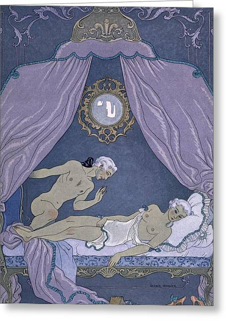 Decadence Greeting Cards - Scene from Les Liaisons Dangereuses Greeting Card by Georges Barbier