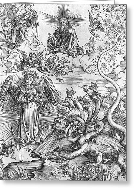 Scene Drawings Greeting Cards - Scene from the Apocalypse Greeting Card by Albrecht Durer or Duerer