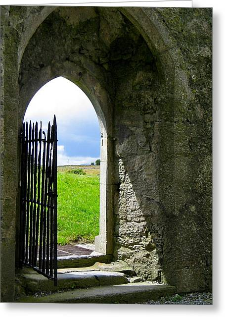 Sunlit Door Greeting Cards - Scenic Portal Greeting Card by Denise Mazzocco