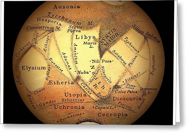 Planet Map Photographs Greeting Cards - Schiaparellis Observations Of Mars Greeting Card by Detlev van Ravenswaay