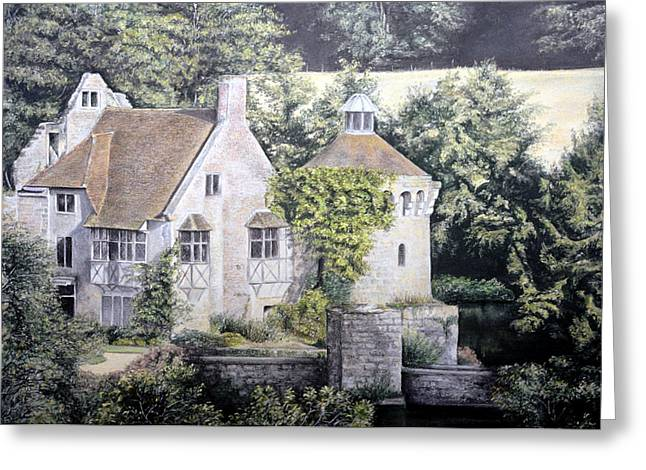 Historical Buildings Pastels Greeting Cards - Scotney Castle Greeting Card by Rosemary Colyer