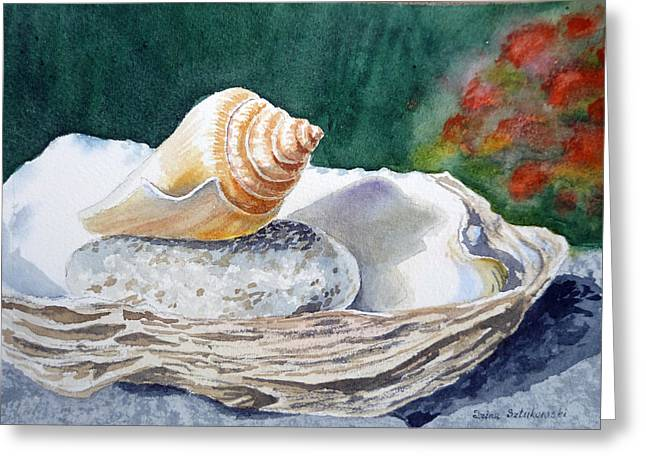 Shell Art Greeting Cards - Sea Shells Greeting Card by Irina Sztukowski