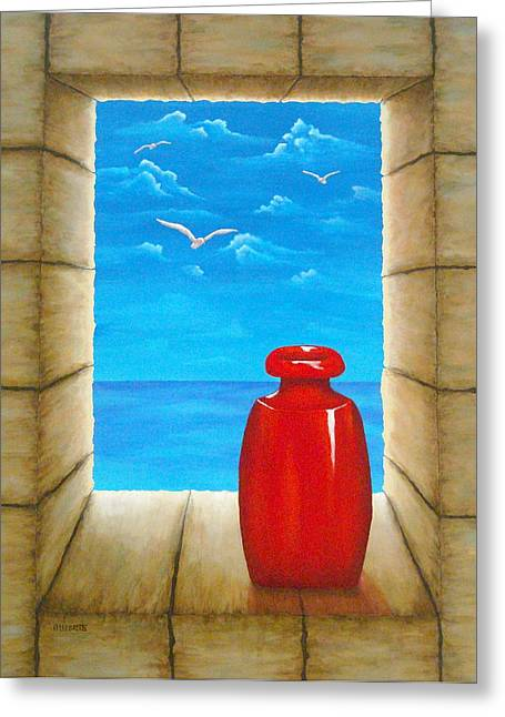 Vista Mixed Media Greeting Cards - Sea View From Castle Greeting Card by Pamela Allegretto
