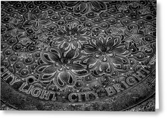 Manhole Greeting Cards - Seattle City Light City Bright Manhole Cover Greeting Card by David Patterson