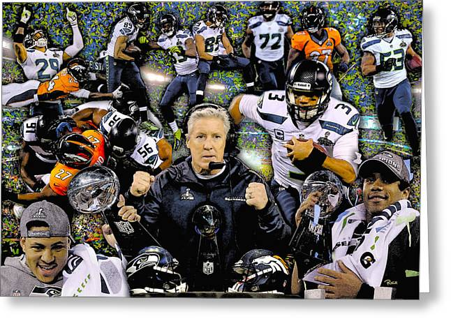 League Paintings Greeting Cards - Seattle Seahawks 2013 Nfl National Foot League Super Bowl Champions Greeting Card by Rich Image