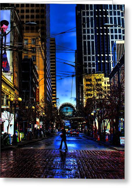 David Patterson Greeting Cards - Seattle Streets Greeting Card by David Patterson
