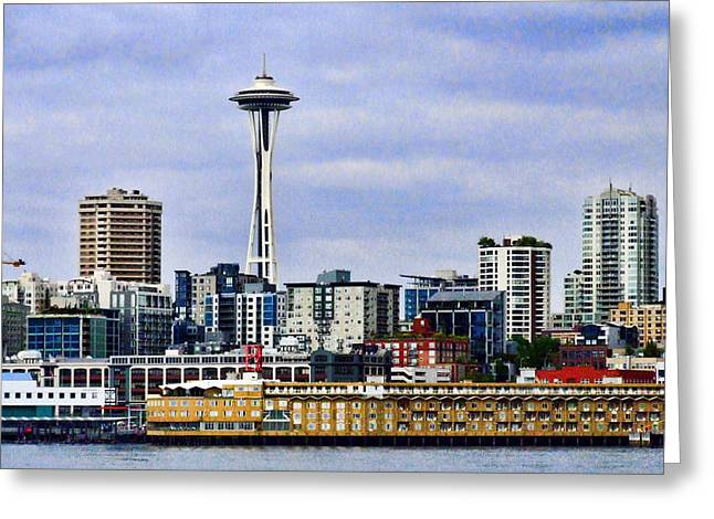 Space Needle Framed Prints Greeting Cards - Seattle Waterfront Greeting Card by Ron Roberts