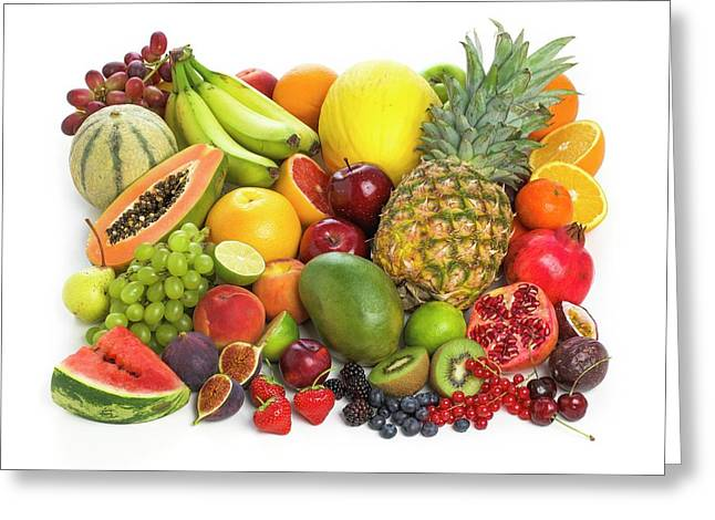 Selection Of Fresh Fruit And Vegetables Greeting Card by Science Photo Library