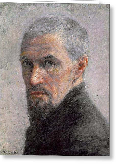 Short Hair Greeting Cards - Self Portrait Greeting Card by Gustave Caillebotte