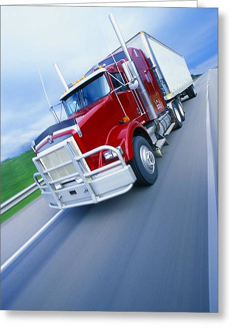 Travel Truck Greeting Cards - Semi-trailer Truck Greeting Card by Don Hammond