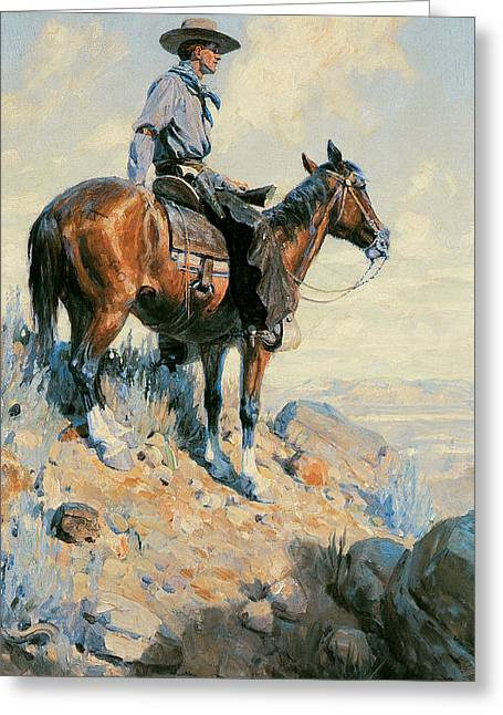 Working Cowboy Photographs Greeting Cards - Sentinel of the Plains Greeting Card by William Herbert Dunton