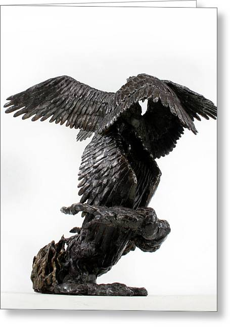 Fantasy Sculptures Greeting Cards - Seraph Angel a religious bronze sculpture by Adam Long Greeting Card by Adam Long