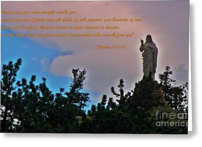 Christ Sermon Greeting Cards - Sermon on the Mount  Greeting Card by John Malone