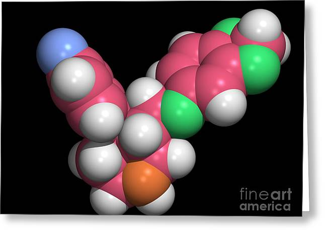 Antidepressant Greeting Cards - Seroxat Paroxetine Molecule Greeting Card by Dr. Tim Evans