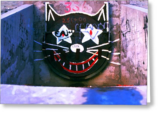 Sewer Greeting Cards - Sewer Cat Greeting Card by Ron Regalado