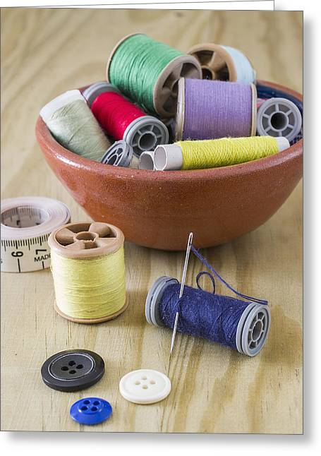 Sewing Supplies Greeting Cards - Sewing supplies Greeting Card by Paulo Goncalves