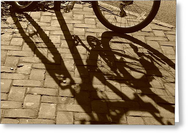 Shadow Play In Sepia Greeting Card by Suzanne Gaff