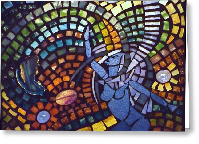 Mixed-media Glass Art Greeting Cards - Shakti Image 3 Greeting Card by Wendy Wehe-Ballone