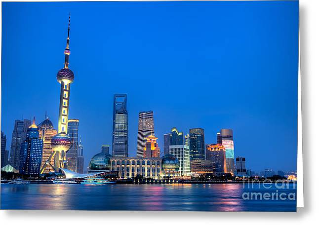 Developing Countries Greeting Cards - Shanghai Pudong cityscape at night Greeting Card by Fototrav Print