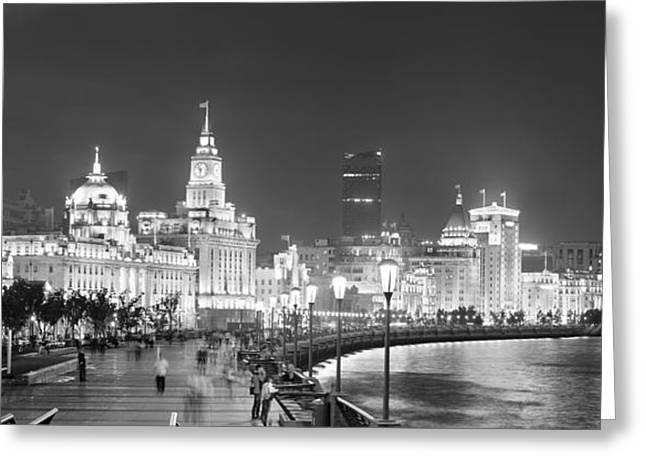 Waitan Greeting Cards - Shanghai Waitan night Greeting Card by Songquan Deng