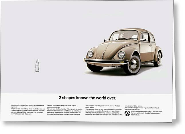 Volkswagen Greeting Cards - 2 Shapes Known The World Over Greeting Card by Mark Rogan