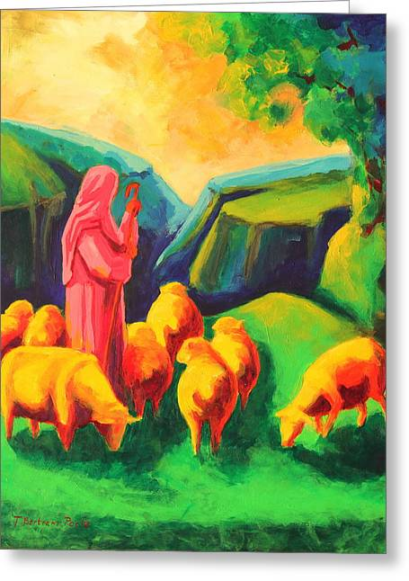 The Shadow Of Death Greeting Cards - Sheep and Shepherd painting Bertram Poole Greeting Card by Thomas Bertram POOLE