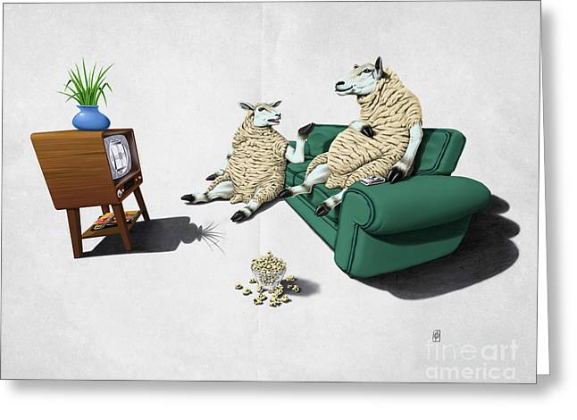 Upholstery Greeting Cards - Sheep Wordless Greeting Card by Rob Snow