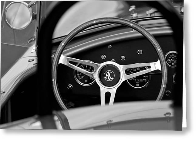 Wheels Greeting Cards - Shelby AC Cobra Steering Wheel Greeting Card by Jill Reger