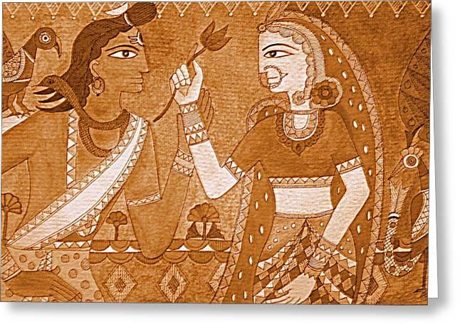 Shiva Parvathi Greeting Card by Varsha Lad