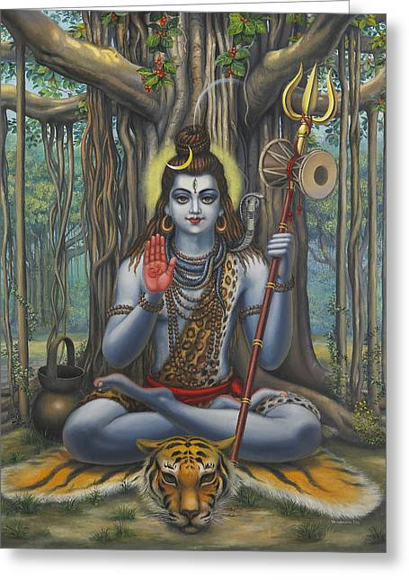 Samadhi Greeting Cards - Shiva Greeting Card by Vrindavan Das