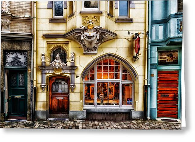 Glass Doors Greeting Cards - Shops of Aachen Germany Greeting Card by Mountain Dreams
