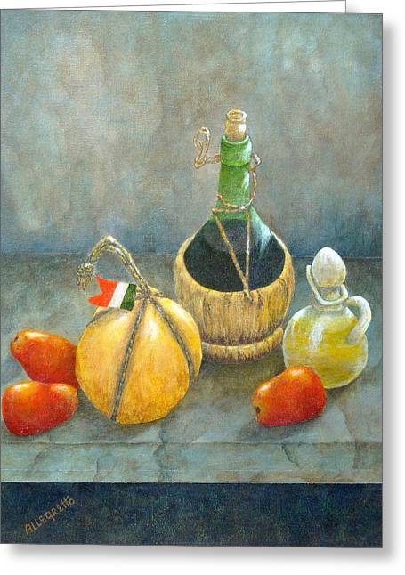 Italian Wine Greeting Cards - Sicilian Table Greeting Card by Pamela Allegretto