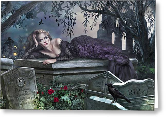 Spooky Night Greeting Cards - Silent Whispers Greeting Card by Drazenka Kimpel