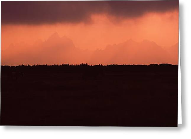 Panorama Mountain Images Greeting Cards - Silhouette Of A Mountain Range At Dusk Greeting Card by Panoramic Images