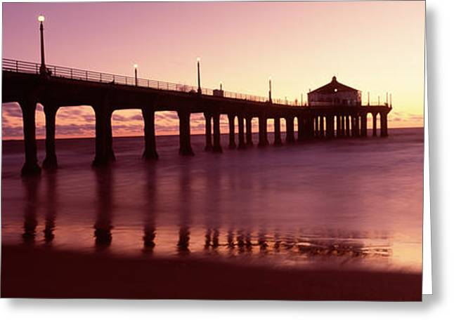 California Beach Greeting Cards - Silhouette Of A Pier, Manhattan Beach Greeting Card by Panoramic Images