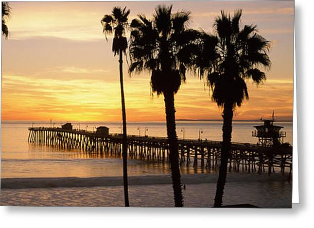 Clemente Photographs Greeting Cards - Silhouette Of A Pier, San Clemente Greeting Card by Panoramic Images